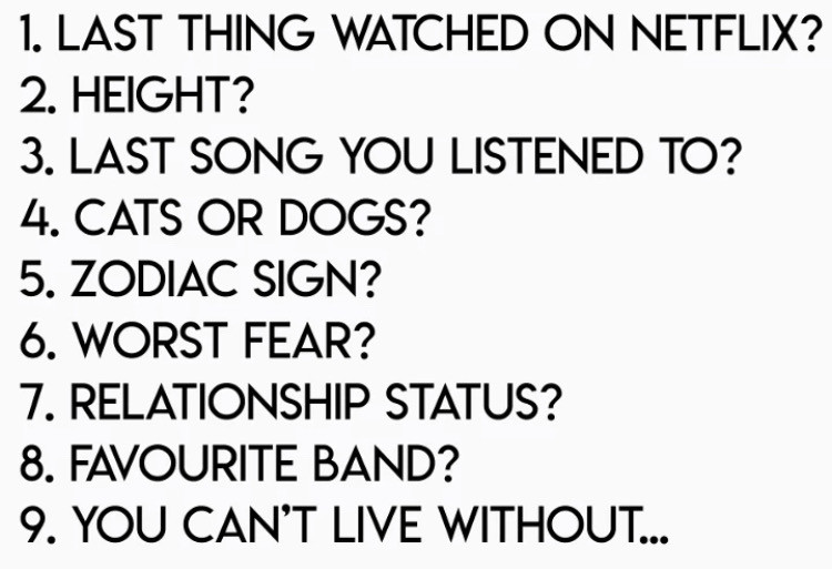 1. Ashes of Love 2. 5'3 (almost 5'4) 3. we fell in love in october - girl in red🏳️‍🌈 4. Dogs 5. Virgo (September 11th.. 14th birthday tomorrow) 6. Heights 7. Taken🏳️‍🌈🥰 8. ONE OK ROCK 9. My girl☺️😘