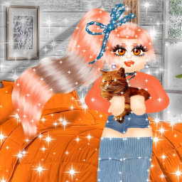 freetoedit byeniddiazroylehigh miss old charlie inquisitormaster' inquisitormaster squad' orange cat cute kind nice sweet outfit orangeoutfit earrings bow blue bluebow squad