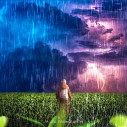 myedit rain astronaut madewithpicsart