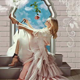 inthemirror woman beautiful pretty dress dressedup highheels feminine romantic bluesky clouds roses flowers window frame steps imagination myimagination stayinspired create creativity madewithpicsart freetoedit