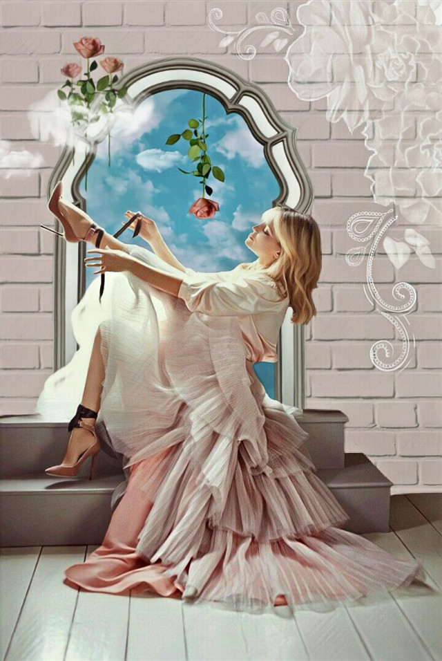 A Rosy View 🌹 #inthemirror #woman #beautiful #pretty #dress #dressedup #highheels #feminine #romantic #bluesky #clouds #roses #flowers #window #frame #steps #imagination #myimagination #stayinspired #create #creativity #madewithpicsart