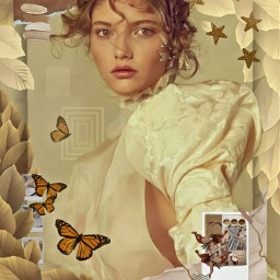 warmneutrals neutrals warmcolours autumn leaves woman lovely frame butterflies polaroids imagination myimagination stayinspired create creativity madewithpicsart freetoedit