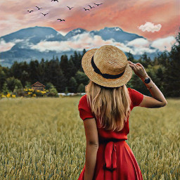 inthefield field girl blonde hat reddress walking takingastroll outdoors mountains trees sky clouds flyingbirds cottage imagination myimagination stayinspired create creativity madewithpicsart freetoedit