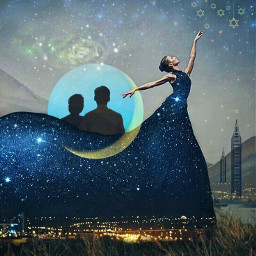 sidebyside together love couple woman galaxy nightsky milkyway moon stars hangingstars hills citylights imagination myimagination stayinspired create creativity madewithpicsart surreal freetoedit