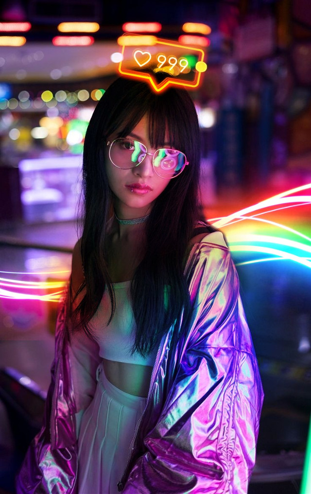 #girl #neon #cyberpunk #neons #edit #pinterestimage This Photo is not mine. I took it from pinterest and edited.