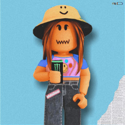 roblox robloxedit robloxedits robloxgirl robloxgirls robloxart girl gfx girls robloxgfx robloxgfxedit cute beautiful longhair brownhair hat monster jornal chapeu shirt pants blue azul happy felicidad freetoedit