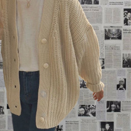 aesthetic asthetic vsco cozy newspaper newspapers button buttons outfit outfits inspo clothesinspo necklace sweater pretty