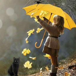 yellowumbrella umbrella hanging girl cat blackcat cobwebs spider autumnleaves imagination myimagination stayinspired create creativity madewithpicsart freetoedit
