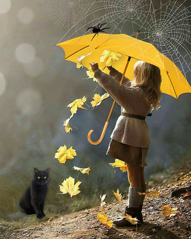 Dusting Off for Halloween 🍊 #yellowumbrella #umbrella #hanging #girl #cat #blackcat #cobwebs #spider #autumnleaves #imagination #myimagination #stayinspired #create #creativity #madewithpicsart