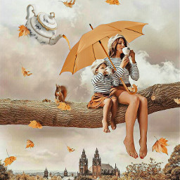 yellowumbrella umbrella woman girl motheranddaughter sky clouds beret sitting treebranch tea teapot teatime sippingtea autumnleaves castle squirrel imagination myimagination stayinspired create creativity surreal madewithpicsart freetoedit