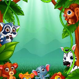 freetoedit animal animallover animalframe frame blankframe jungle jungleanimals nature background wallpaper backdrop cutepets