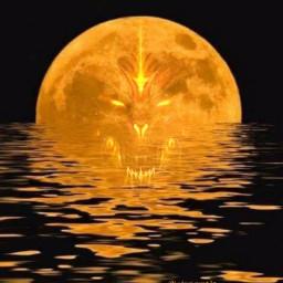 freetoedit halloween demon fullmoon scary creepy reflection