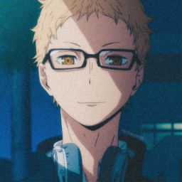 haikyuu tsukishima tsukishimakei animeaesthetic animeboy yellow profilepic profilepicture anime animeicon icon aesthtic pfp freetoedit yellowaesthetic blue