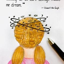 sketchbook aesthetic girl aestheticsketch space stars aestheticquotes dream
