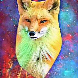 fox galaxy space spaceart foxart