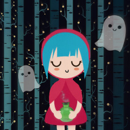 freetoedit kawaii girl cute ghosts witch october witches fairytale magic blue forest
