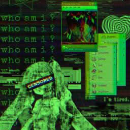 freetoedit cyber cyberedit cyberpunk cybercore cybergoth aesthetic glitch hatsunemiku miku picsart wallpaper greenglitch
