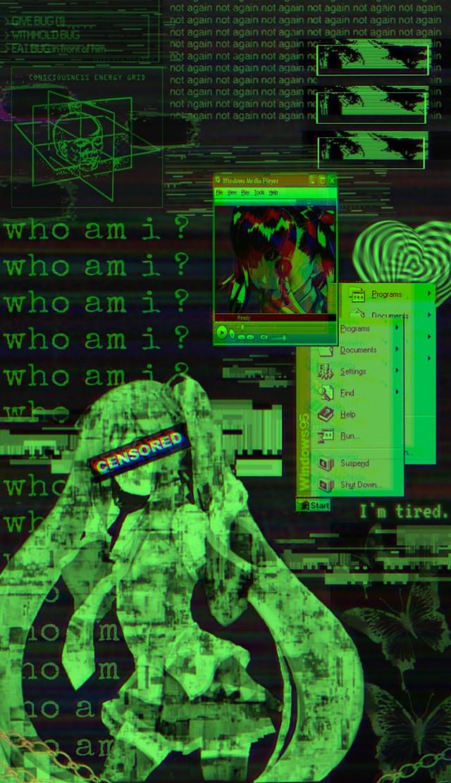 #freetoedit #cyber #cyberedit #cyberpunk #cybercore #cybergoth #aesthetic #glitch  #hatsunemiku #miku #picsart #wallpaper #greenglitch
