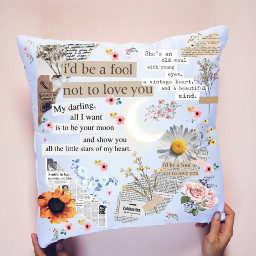 newspapercollage flowers pillow ircdesignapillow designapillow freetoedit