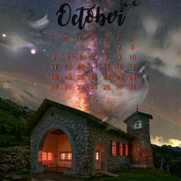 octobercalendar calendar october mybirthmonth church ladyghost ghosts graves night nightsky milkyway lights glowing bats imagination myimagination stayinspired create creativity madewithpicsart freetoedit