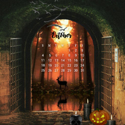 octobercalendar calendar october mybirthmonth halloween tunnel darkness darkplace light deer silhouette forest candles skull halloweenpumpkin imagination myimagination stayinspired create creativity madewithpicsart freetoedit
