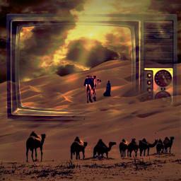 desert camel sunset oldtv fantasyart surrealart imagination freetoedit srcsmallscreen smallscreen