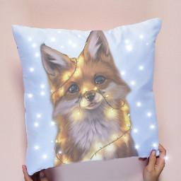 fox foxinlights lights brightlights bright ircdesignapillow freetoedit