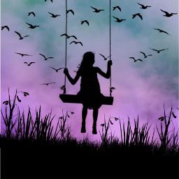 freetoedit swing girl pretty birds