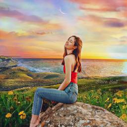 landscape sunset ocean beach woman colorful flowers scenery freetoedit