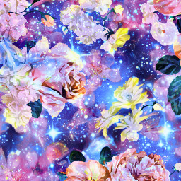freetoedit glitter sparkle galaxy sky stars flowers roses cherryblossoms nature pattern vintage cute art shimmer overlay background wallpaper