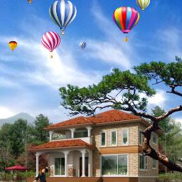freetoedit sky clouds house balloon girl kid myedit makeawesome madewithpicsart heypicsart moon araceliss