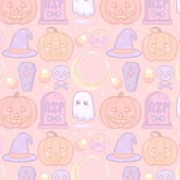 wallpaper hallowen cute kawaii punpkin wicth ghost fantasma bruja calabaza rip orange aesthetic violet purple freetoedit