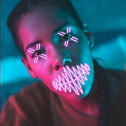 neon picsartedit effect edit experimente rosa pink girl pastel cyberpunk gothic newwave apocalypse halloween mask freetoedit