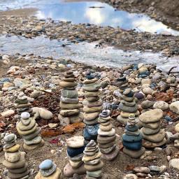 rocks beach blue sky wisconsin