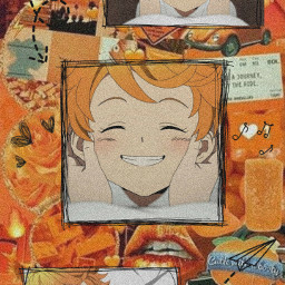 emma neverland wallpaper anime aesthetic orange aestheticwallpaper freetoedit
