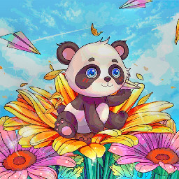 cutepanda paperairplane flowers windyday
