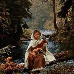 freetoedit girl fox forest beautyofnature
