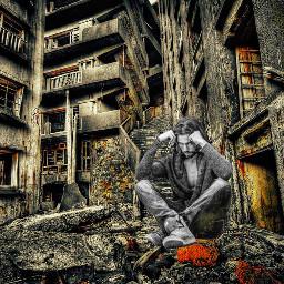 photo abandoned building deserted man freetoedit fx madewithpicsart