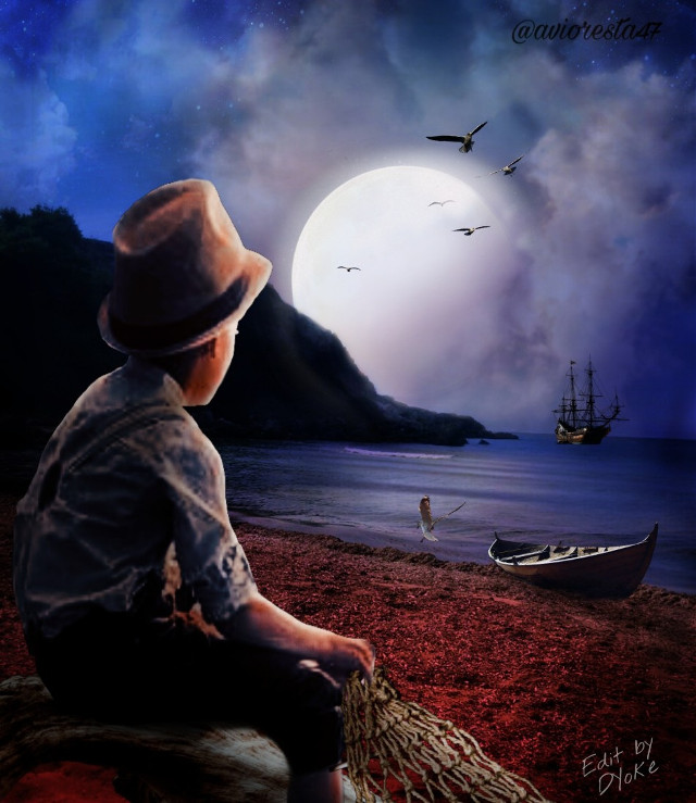 #Mastershoutout to @avioresta47, Check out this awesome gallery!! #photoremix,  #photoediting,  #maskeffect,  #fxeffects,  #fxtools,  #moonlight,  #night, #silhouette,  #netfishing, #fullmoon,  #night, #shoreline , #child sihlouette