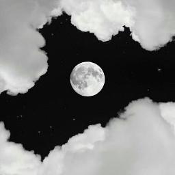 freetoedit blacksky clouds moon whiteclouds littlestars