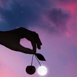 freetoedit moon cherry mooncherry sky clouds