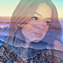 colorful doubleexposure bright mountains sky freetoedit