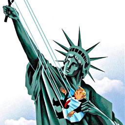 freetoedit trump statueofliberty slingshot mask art clouds meme lol funny