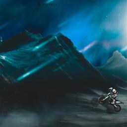 motorcycle sky sun blue mountain snow freetoedit