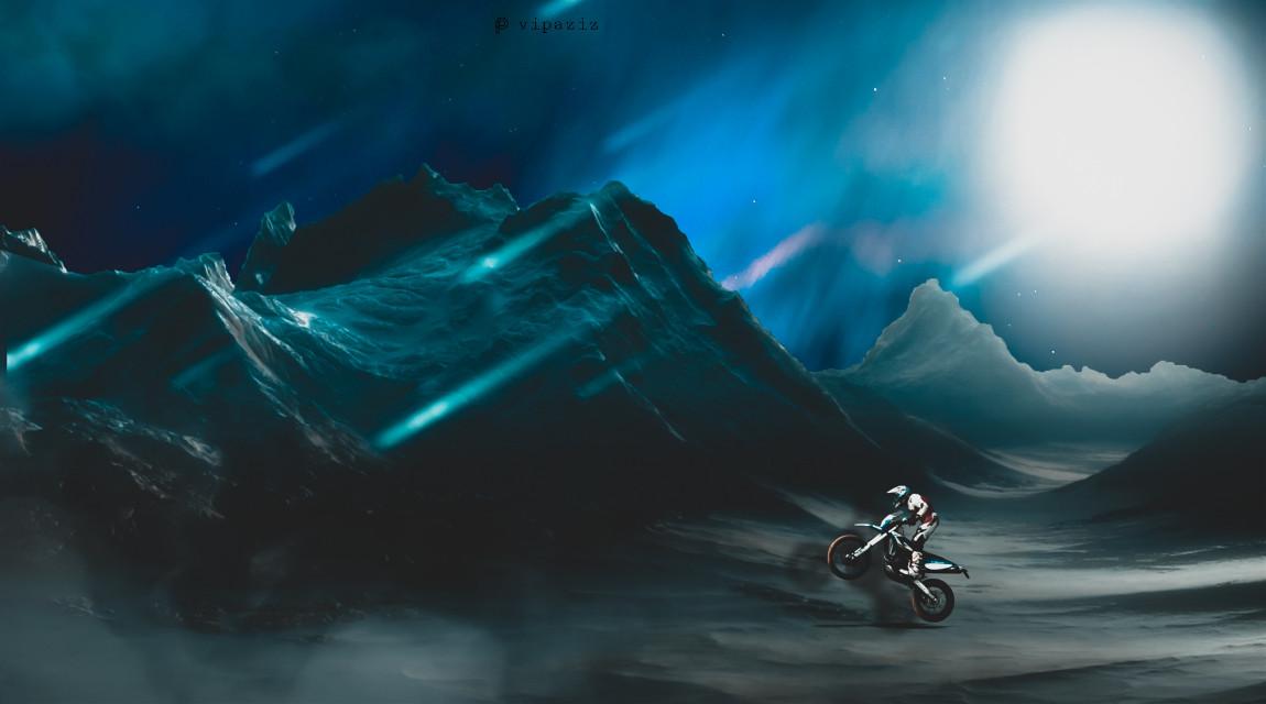 #motorcycle #sky #sun #blue #mountain #snow