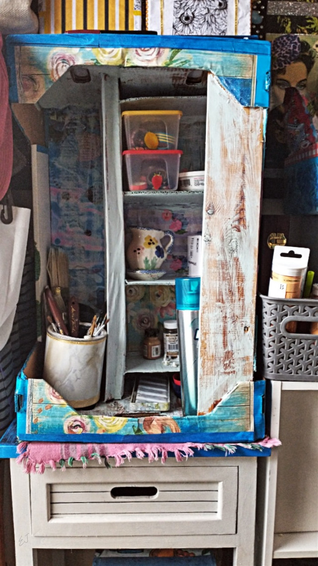 """Built A New Art Supply Cabinet Out Of A Broccoli Crate"" - #ShabbyChic #SeclusionInducedArt #QuarantineProjectOfTheDay #CreatingForSanity-  #ElvyraJones #ClownSinnerSaint"