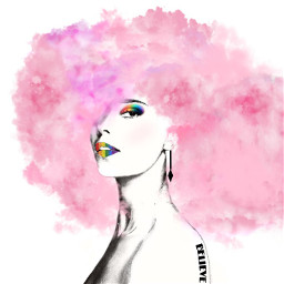 cloudyhair pinkclouds rainbowmakeup girl girldrawing colourfulldrawing balckandwhitedrawing freetoedit
