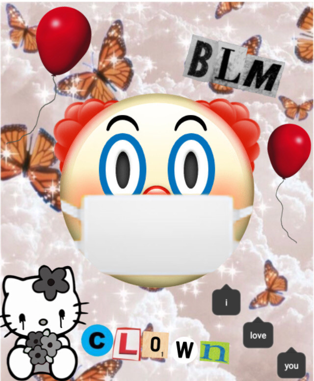 Made this for my online classes pfp :0) honk honk #clowncheck #clown #fyp #cute #weird #red #ballons #blm #hellokitty