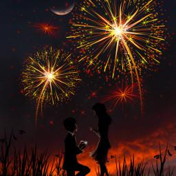 love surreal couple interesting night fireworks fauspre freetoedit