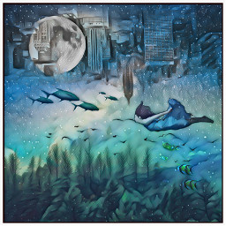 water forest city swimming fish trees girl swim freetoedit